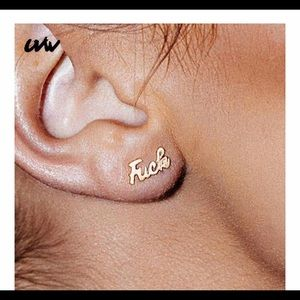 Fuck Gold Plated Stud earrings